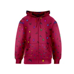 Red Abstract A Colorful Modern Illustration Kids  Zipper Hoodie