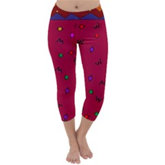 Red Abstract A Colorful Modern Illustration Capri Winter Leggings