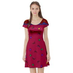 Red Abstract A Colorful Modern Illustration Short Sleeve Skater Dress
