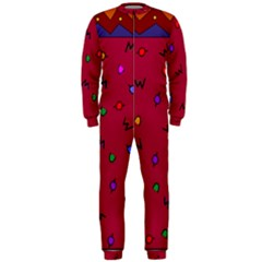 Red Abstract A Colorful Modern Illustration OnePiece Jumpsuit (Men)