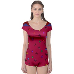 Red Abstract A Colorful Modern Illustration Boyleg Leotard