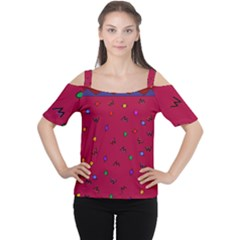 Red Abstract A Colorful Modern Illustration Women s Cutout Shoulder Tee