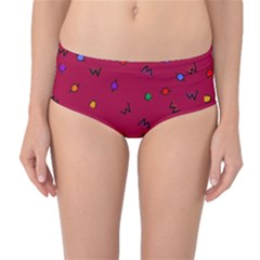 Red Abstract A Colorful Modern Illustration Mid-Waist Bikini Bottoms