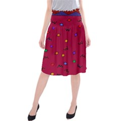 Red Abstract A Colorful Modern Illustration Midi Beach Skirt