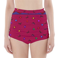 Red Abstract A Colorful Modern Illustration High-Waisted Bikini Bottoms