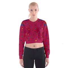 Red Abstract A Colorful Modern Illustration Women s Cropped Sweatshirt