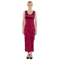 Red Abstract A Colorful Modern Illustration Fitted Maxi Dress
