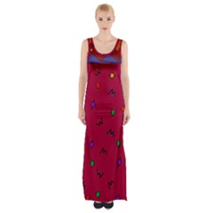 Red Abstract A Colorful Modern Illustration Maxi Thigh Split Dress