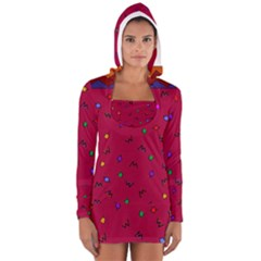 Red Abstract A Colorful Modern Illustration Women s Long Sleeve Hooded T-shirt