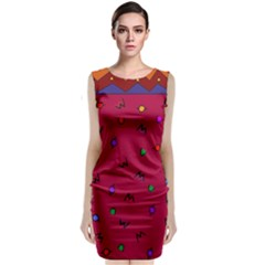 Red Abstract A Colorful Modern Illustration Classic Sleeveless Midi Dress