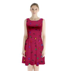 Red Abstract A Colorful Modern Illustration Sleeveless Chiffon Waist Tie Dress