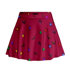 Red Abstract A Colorful Modern Illustration Mini Flare Skirt