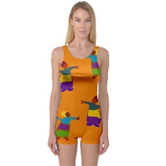 A Colorful Modern Illustration For Lovers One Piece Boyleg Swimsuit