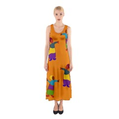 A Colorful Modern Illustration For Lovers Sleeveless Maxi Dress