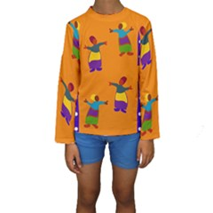 A Colorful Modern Illustration For Lovers Kids  Long Sleeve Swimwear
