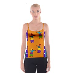 A Colorful Modern Illustration For Lovers Spaghetti Strap Top