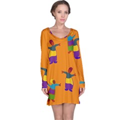 A Colorful Modern Illustration For Lovers Long Sleeve Nightdress