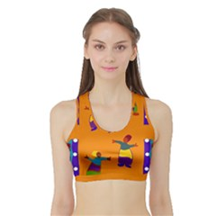 A Colorful Modern Illustration For Lovers Sports Bra with Border