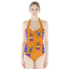 A Colorful Modern Illustration For Lovers Halter Swimsuit