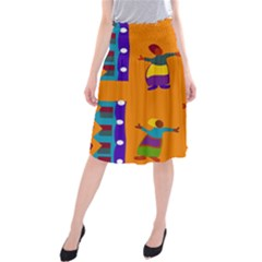 A Colorful Modern Illustration For Lovers Midi Beach Skirt