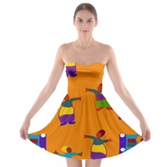 A Colorful Modern Illustration For Lovers Strapless Bra Top Dress