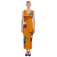 A Colorful Modern Illustration For Lovers Fitted Maxi Dress