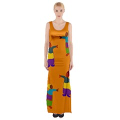 A Colorful Modern Illustration For Lovers Maxi Thigh Split Dress