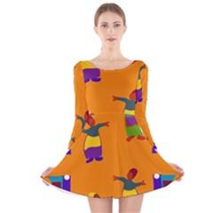A Colorful Modern Illustration For Lovers Long Sleeve Velvet Skater Dress