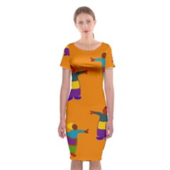 A Colorful Modern Illustration For Lovers Classic Short Sleeve Midi Dress