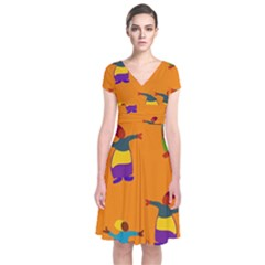 A Colorful Modern Illustration For Lovers Short Sleeve Front Wrap Dress