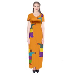 A Colorful Modern Illustration For Lovers Short Sleeve Maxi Dress
