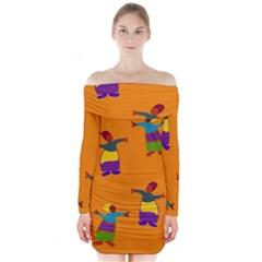 A Colorful Modern Illustration For Lovers Long Sleeve Off Shoulder Dress