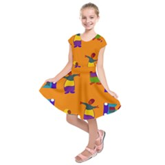 A Colorful Modern Illustration For Lovers Kids  Short Sleeve Dress