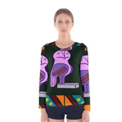 Owl A Colorful Modern Illustration For Lovers Women s Long Sleeve Tee