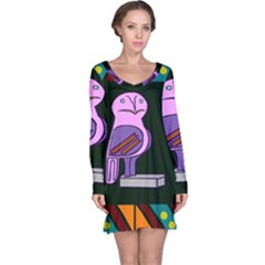Owl A Colorful Modern Illustration For Lovers Long Sleeve Nightdress