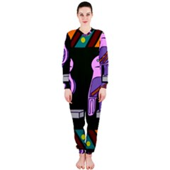 Owl A Colorful Modern Illustration For Lovers OnePiece Jumpsuit (Ladies)