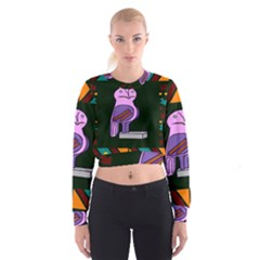 Owl A Colorful Modern Illustration For Lovers Women s Cropped Sweatshirt