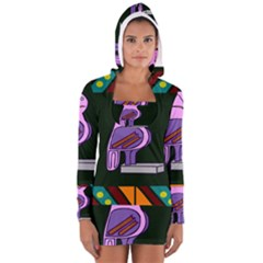 Owl A Colorful Modern Illustration For Lovers Women s Long Sleeve Hooded T Shirt