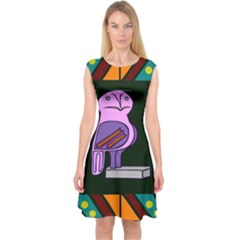 Owl A Colorful Modern Illustration For Lovers Capsleeve Midi Dress