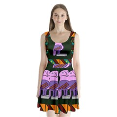 Owl A Colorful Modern Illustration For Lovers Split Back Mini Dress