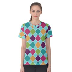 Colorful Quatrefoil Pattern Wallpaper Background Design Women s Cotton Tee