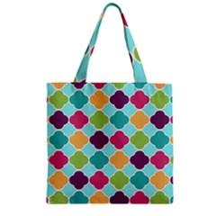 Colorful Quatrefoil Pattern Wallpaper Background Design Zipper Grocery Tote Bag