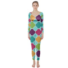 Colorful Quatrefoil Pattern Wallpaper Background Design Long Sleeve Catsuit