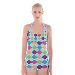 Colorful Quatrefoil Pattern Wallpaper Background Design Boyleg Halter Swimsuit