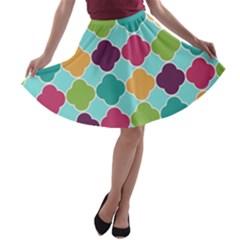 Colorful Quatrefoil Pattern Wallpaper Background Design A Line Skater Skirt