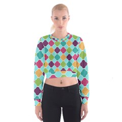 Colorful Quatrefoil Pattern Wallpaper Background Design Women s Cropped Sweatshirt