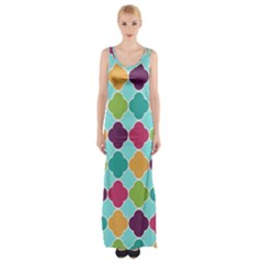 Colorful Quatrefoil Pattern Wallpaper Background Design Maxi Thigh Split Dress