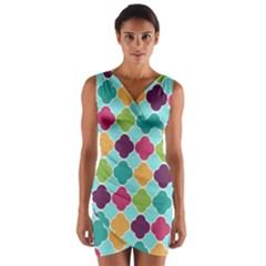 Colorful Quatrefoil Pattern Wallpaper Background Design Wrap Front Bodycon Dress