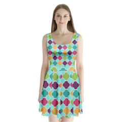 Colorful Quatrefoil Pattern Wallpaper Background Design Split Back Mini Dress