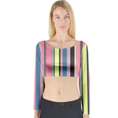 Seamless Colorful Stripes Pattern Background Wallpaper Long Sleeve Crop Top